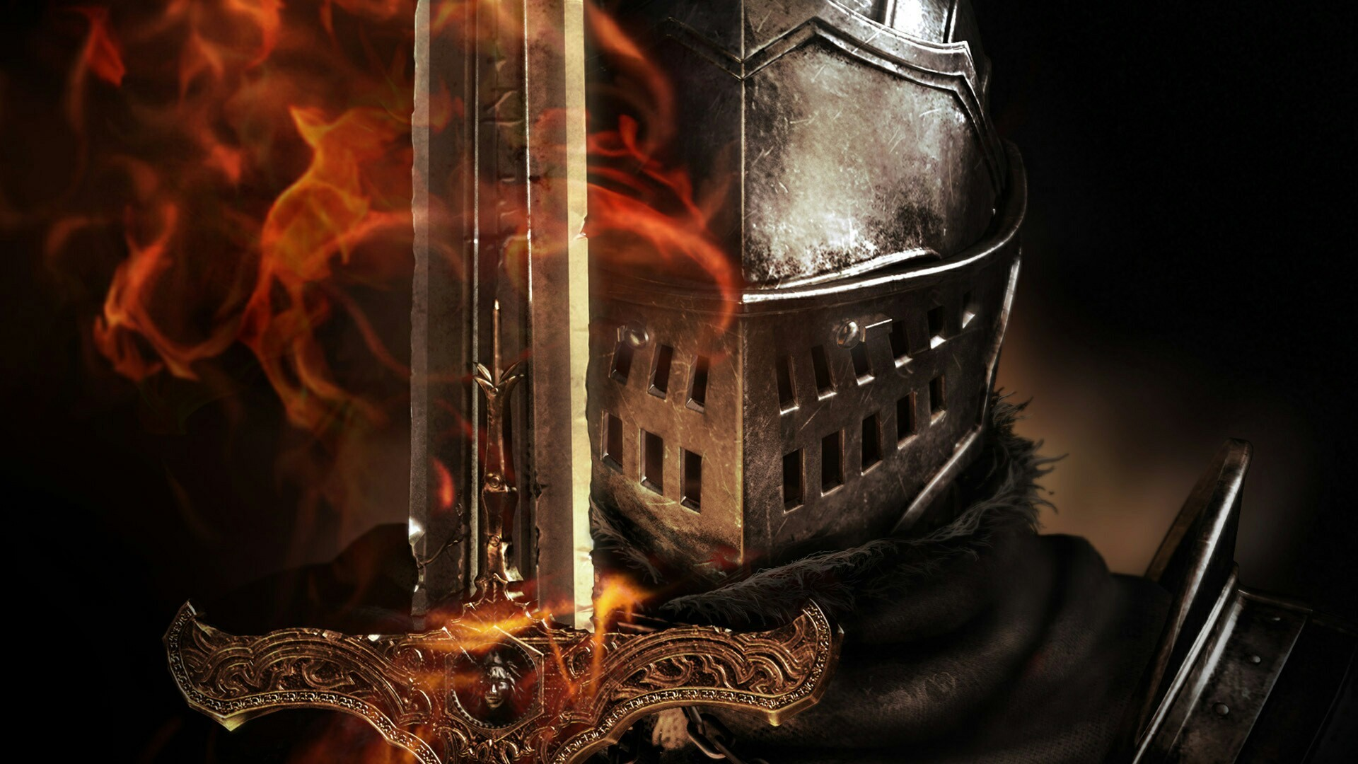 Title. Knight helmet with sword 1920x1080