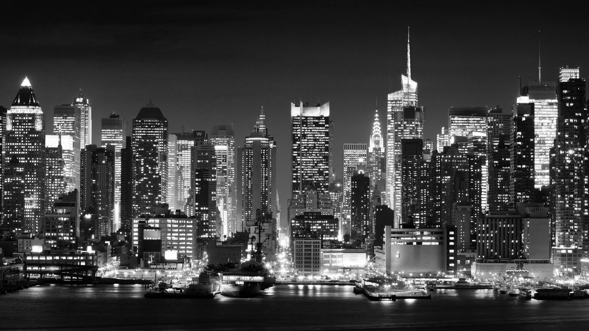 2048x1152 New York City Black And White Wallpaper High Quality