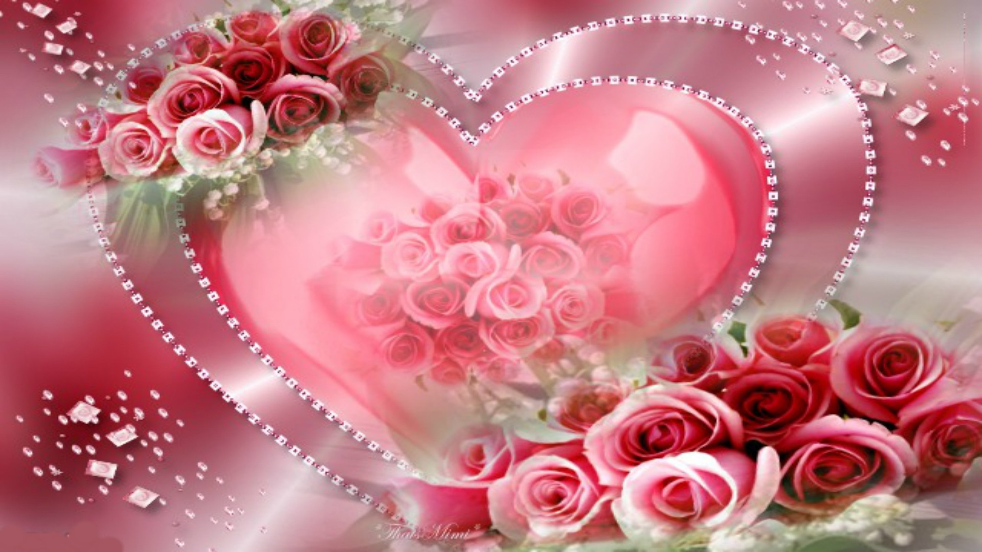 Hearts and flowers wallpaper 63 pictures - Pink roses and hearts wallpaper ...