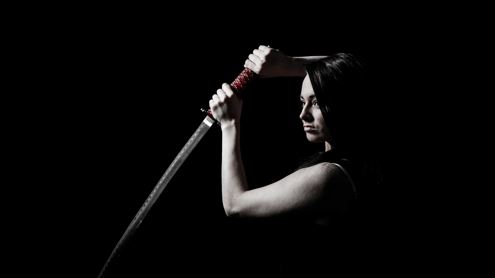 1920x1080 Wallpaper sword, katana, girl, dark 1920x1080