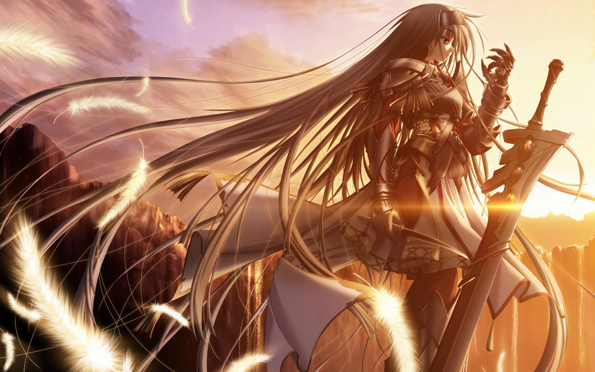Video Game - Blood Of Darkness Geass Armor Long Hair Sunset Cliff Girl Warrior Sword Feather 1920x1200