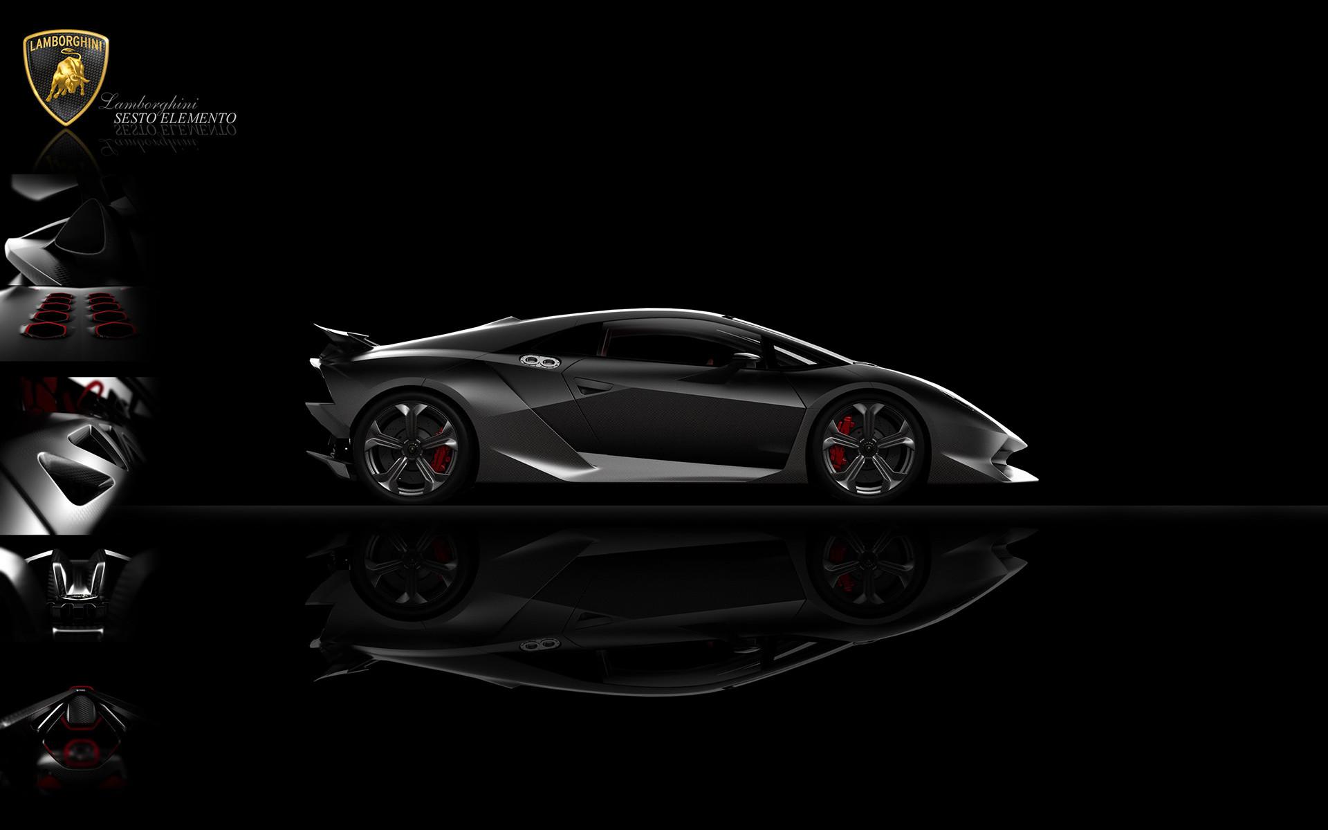 Superb Front Side View Of A Black Lamborghini Sesto Elemento Wallpaper 1920x1080