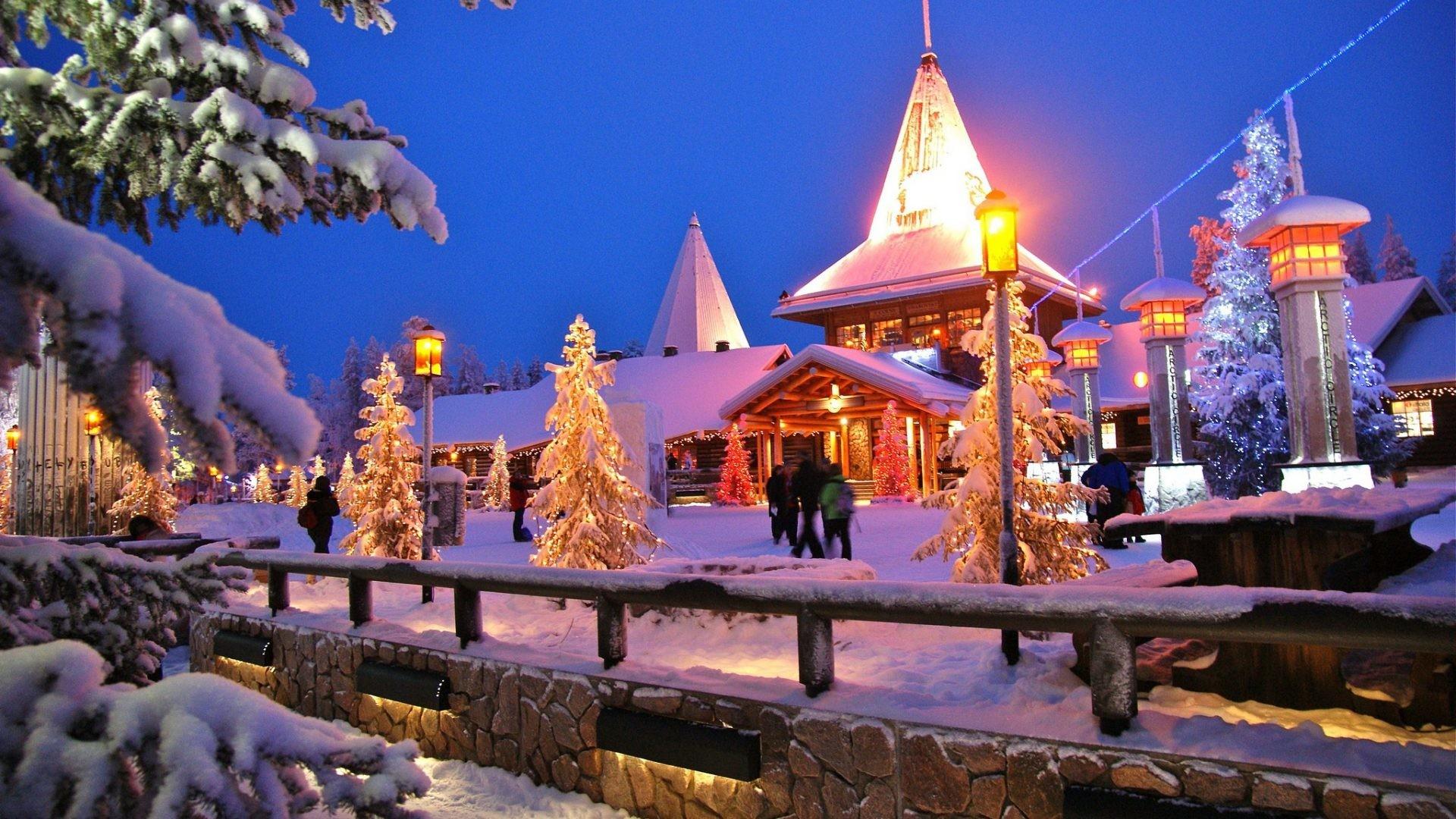 Amusement Parks - Santa Claus Village Rovaniemi Finnland Snow Christmas Winter Building Firs Trees Wide Resolution 1920x1080