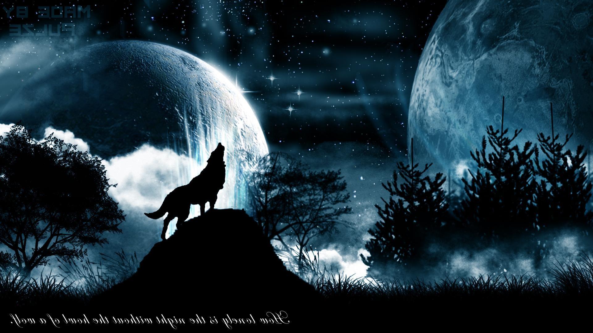 Обои для рабочего стола волки и луна