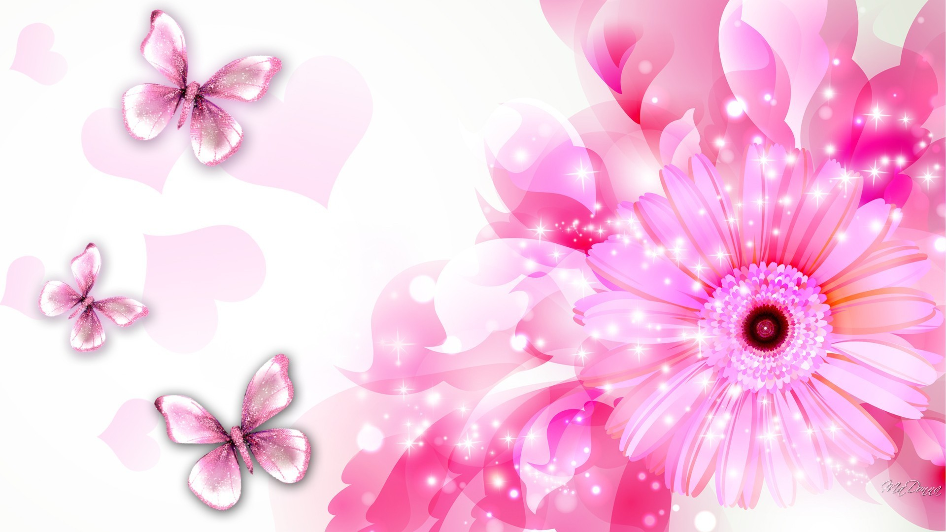 Flowers And Hearts Wallpaper 1920x1080