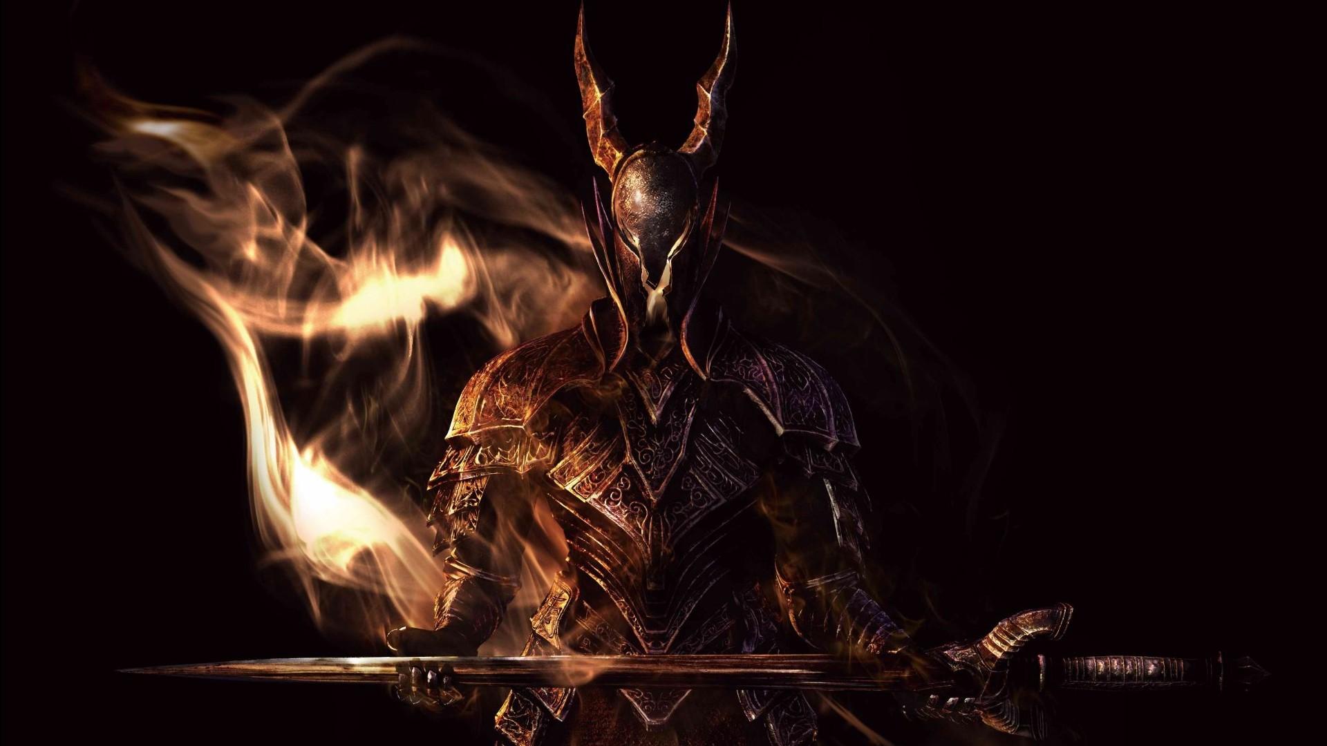 1920x1080 Wallpaper dark souls, sword, armor, look, smoke 1920x1080