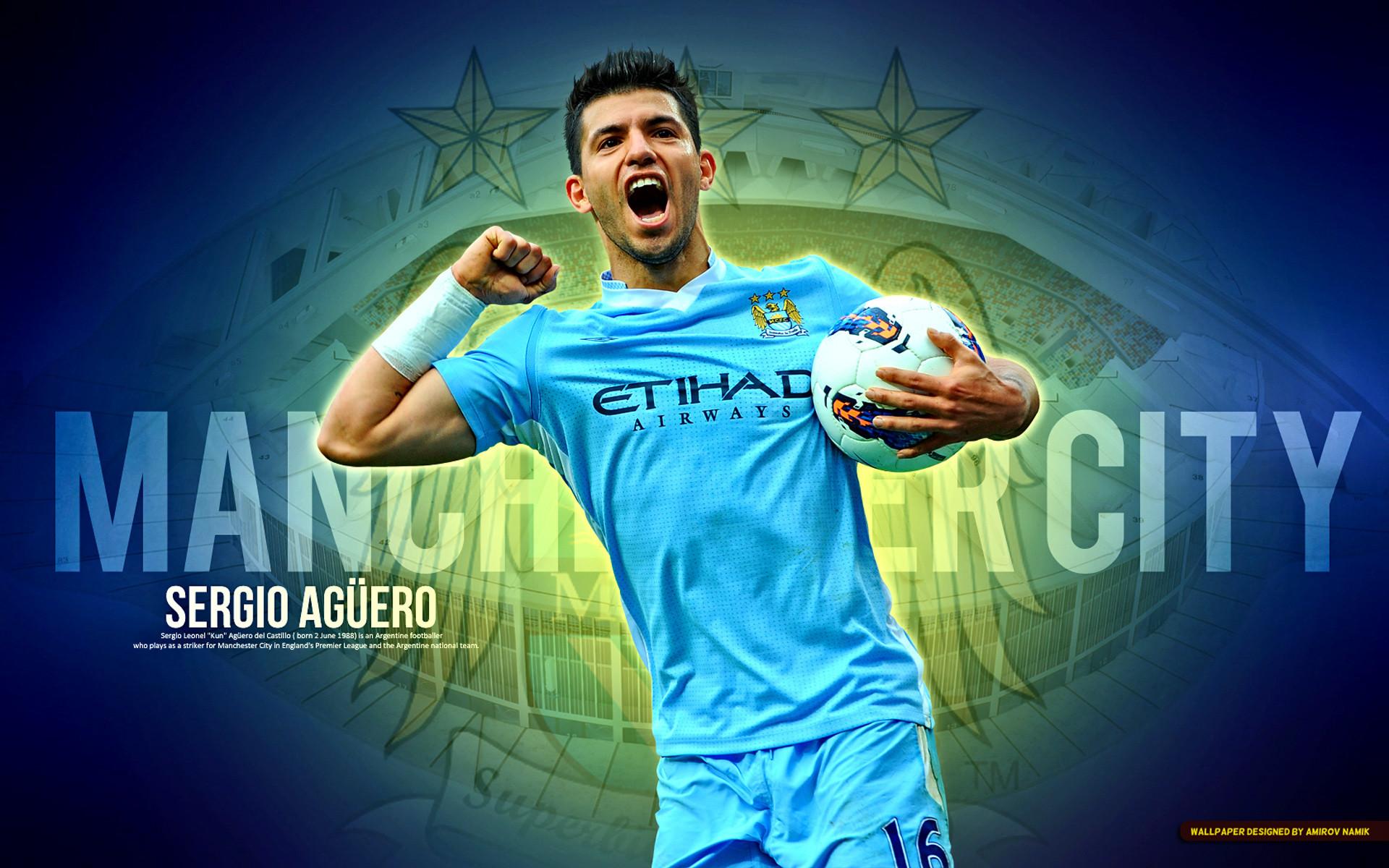 Wallpaper Manchester City Aguero