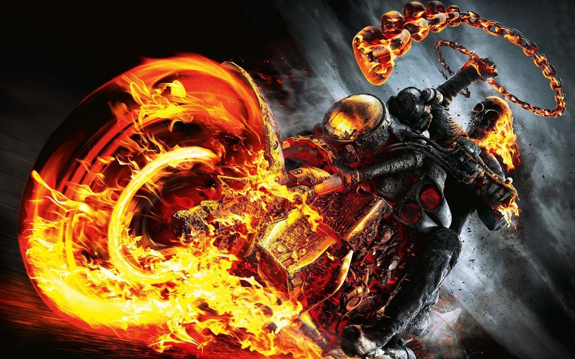 1920x1200 Ghost Rider Spirit Of Vengeance Skull Fire Bike Wallpapers