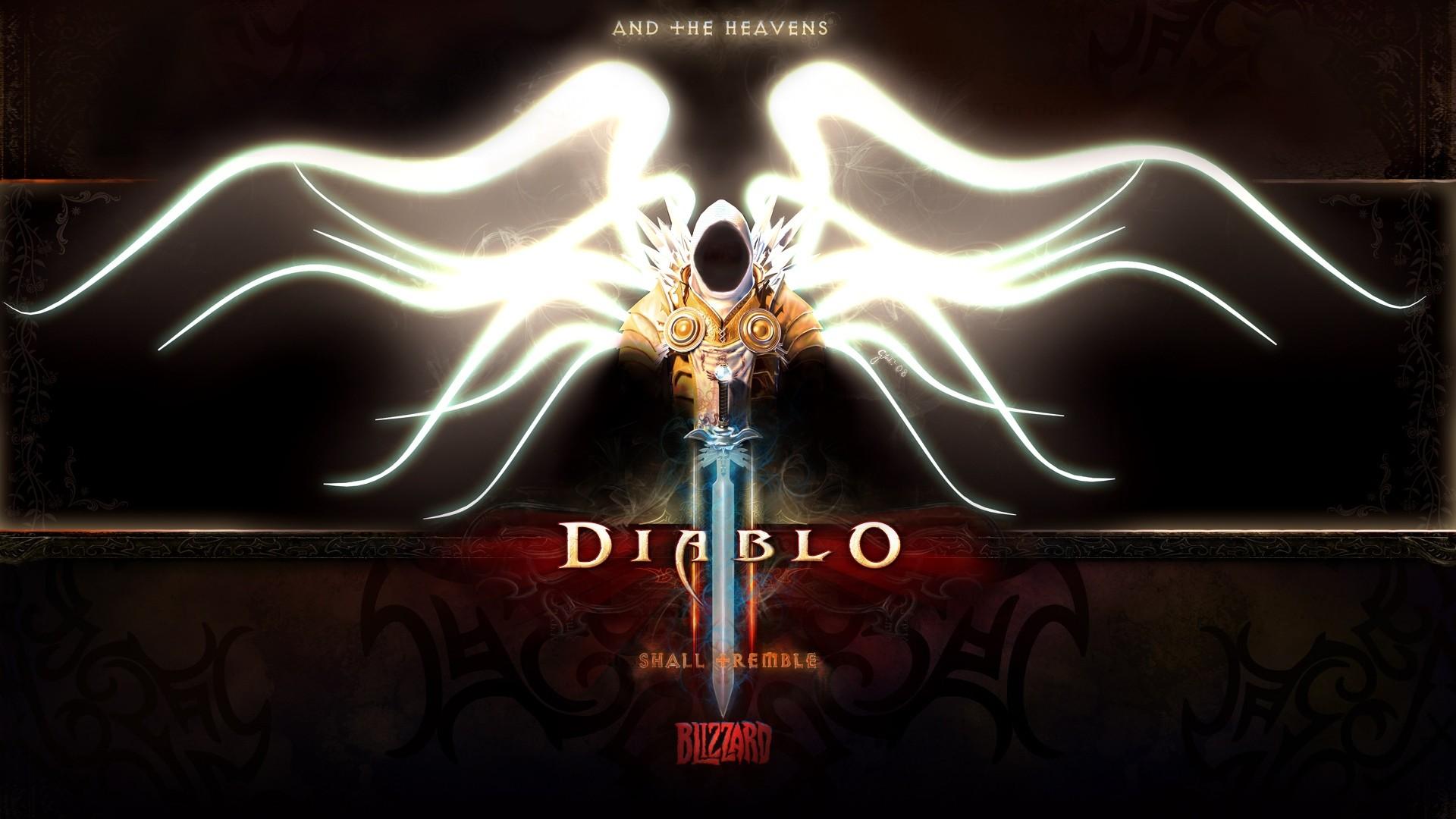 Download Diablo 3 Tyrael Angel Archangel Character Wings Hood Sword Wallpaper Â« Kuff Games 1920x1080