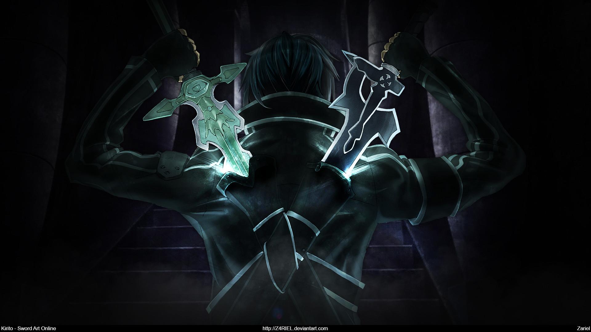 ... Sword Art Online - Kirito Dual Blades [Wallpaper] by Z4RIEL 1920x1080