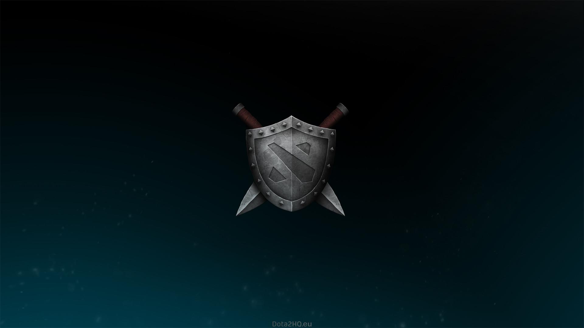 1920x1080 Wallpaper dota 2, shield, logo, sword 1920x1080