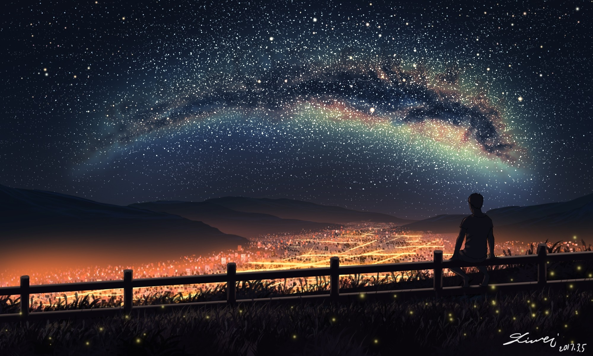 Anime Night Sky: Stars In The Sky Wallpaper (64+ Pictures