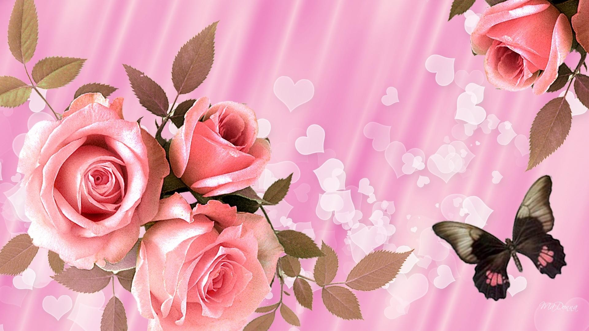 hearts and flowers wallpaper (63+ pictures)