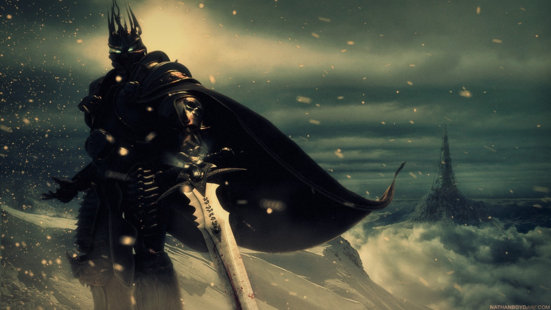 1920x1080 Wallpaper world of warcraft, lich king sword, cold, snow, eyes 1920x1080