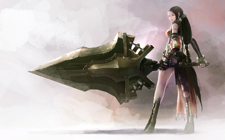 Fantasy girl sword 2880x1800